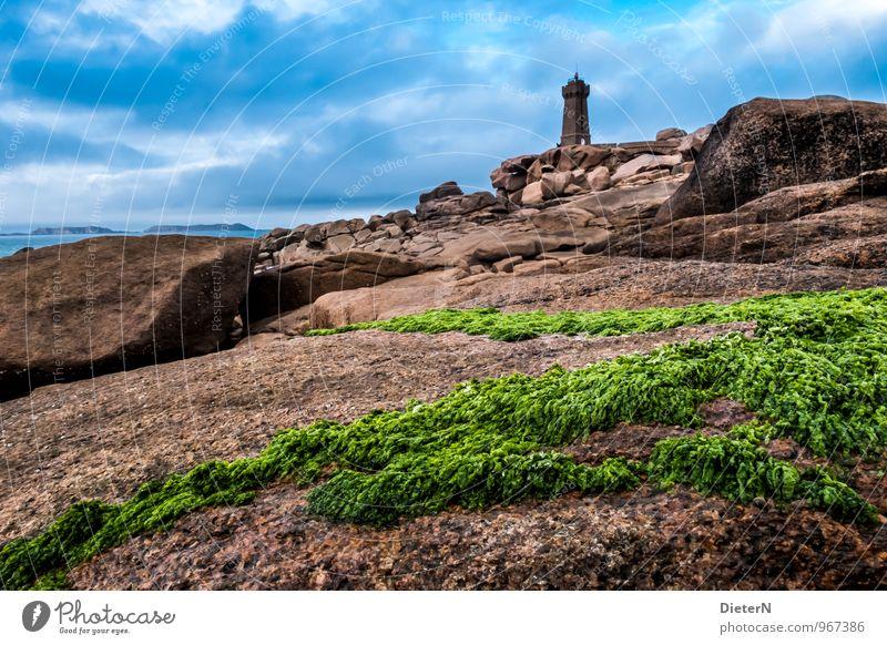 Grün Himmel Wolken Pflanze Küste Meer Atlantik maritim blau braun grün schwarz Leuchtturm Cote de Granit Rose Stein Felsen Ploumanach Algen Farbfoto