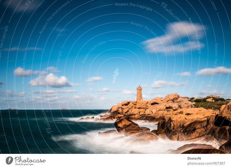 Felsenküste Natur Landschaft Himmel Wolken Sonne Sonnenlicht Wetter Schönes Wetter Wind Wellen Küste Bucht Meer Atlantik Cote de Granit Rose Menschenleer