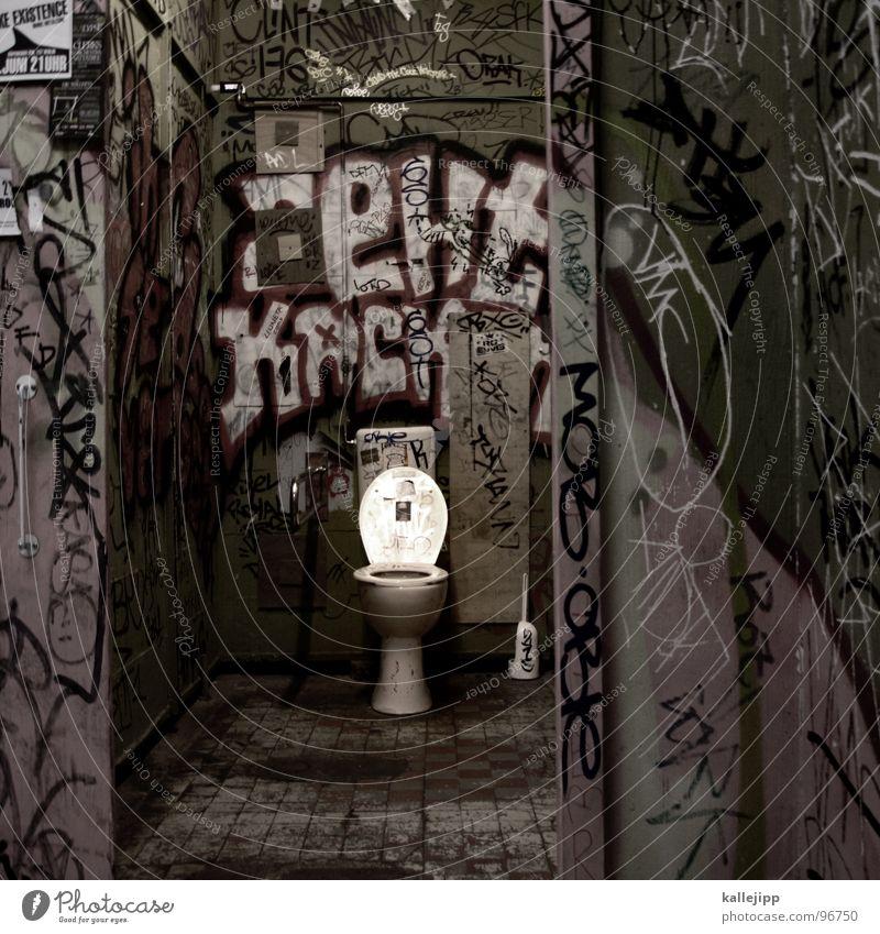 locus amoenus Stadt Haus Graffiti Leben klein Linie Arbeit & Erwerbstätigkeit Raum offen dreckig groß Brille dünn Kot Fliesen u. Kacheln Toilette