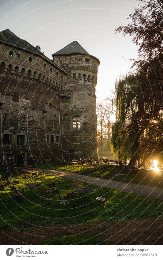 Dicke Berta im Sonnenuntergang Ausflug Herbst Park Burg oder Schloss Bauwerk Gebäude Architektur alt historisch Burgturm Café Romantik Mittelalter Festung