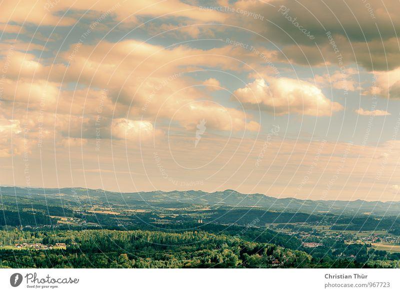 Herbstlandschaft Natur Ferien & Urlaub & Reisen Baum Erholung Landschaft ruhig Wolken Freude Ferne Wald Umwelt Berge u. Gebirge Wiese Gras Freiheit