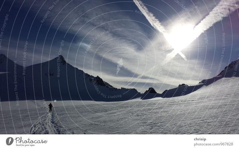 frei sein Mensch Himmel Natur Ferien & Urlaub & Reisen weiß Landschaft Wolken Freude Winter kalt Berge u. Gebirge Schnee Sport Glück Freizeit & Hobby frei