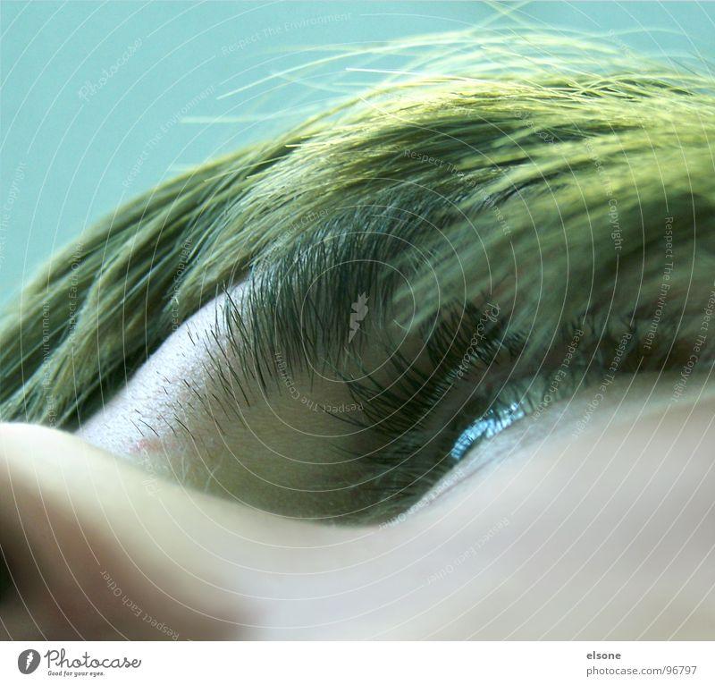 memyself Mann grün Augenbraue Quadrat Dresden Riesa außergewöhnlich Nasenloch Detailaufnahme elsone Mensch Haare & Frisuren photocase Gesicht blau Haut Blick
