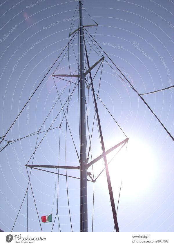 NORDISH BY NATURE Sonne Seil Schönes Wetter Geometrie graphisch Blauer Himmel Anschnitt Mast Bildausschnitt Segelschiff himmelblau maritim Takelage hell-blau