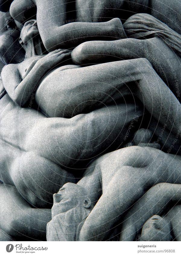 Turba Oslo Park Norwegen nackt Menschenmenge Bildhauerei schlafen ruhig Außenaufnahme Bildausschnitt Skulptur Bildung Kunst Kunsthandwerk Garten Frogner Park