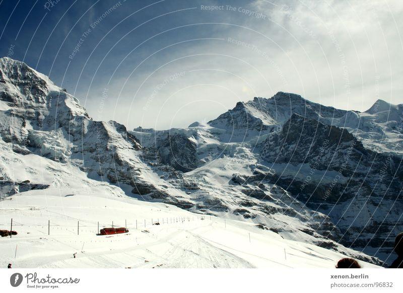 bergwelt Eiger Gletscher Panorama (Aussicht) kalt Berge u. Gebirge Alpen jungfraujoch Schnee groß