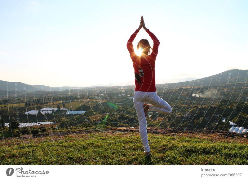 Mensch Himmel Natur Jugendliche schön Sonne Junge Frau Erholung Landschaft ruhig Umwelt Berge u. Gebirge Leben Herbst feminin Gesundheit