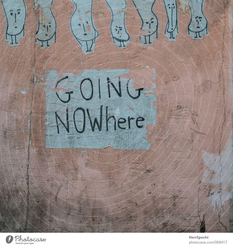 Dableiben alt Stadt Wand Graffiti Mauer gehen Kunst rosa trist Schriftzeichen Grafik u. Illustration trashig Altstadt Figur Straßenkunst Etikett