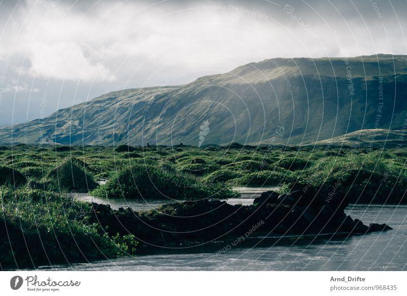 Island Sommerurlaub Umwelt Natur Landschaft Pflanze Urelemente Erde Wasser Himmel Wolken schlechtes Wetter Regen Sträucher Wiese Berge u. Gebirge Vulkan Bach