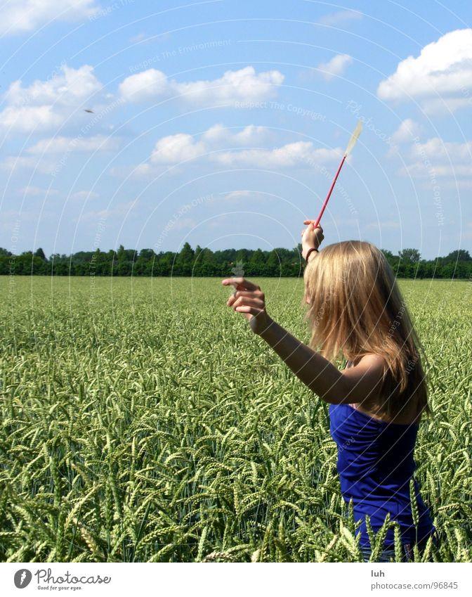 Bleib steh'n ! Wolken himmelblau Tier Insekt drohen wo Feld grün Weizen groß mehrfarbig drehen Schwung Mädchen Frau Ferne Jugendliche Himmel blue