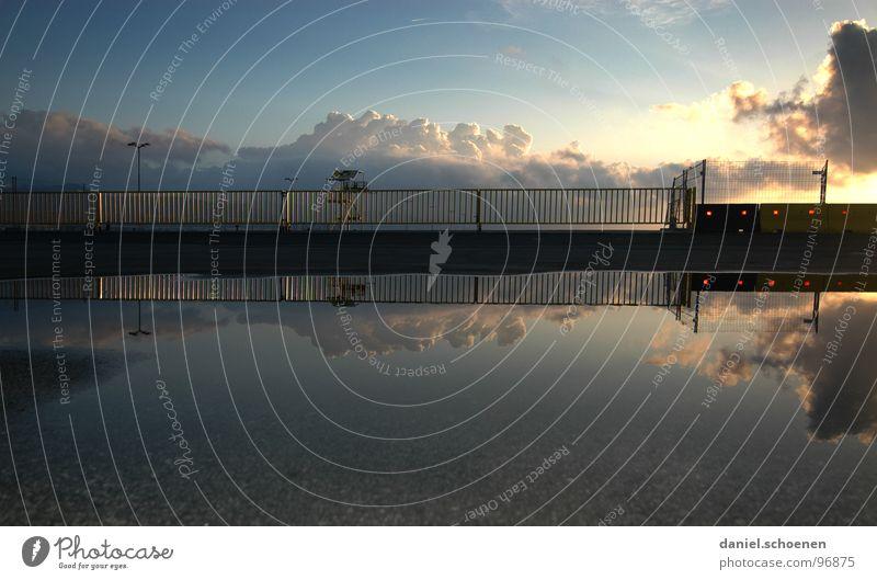 am Hafen Meer Wolken Sonnenaufgang Sonnenuntergang Licht Reflexion & Spiegelung Hintergrundbild Sommer Ferien & Urlaub & Reisen Himmel Wasser