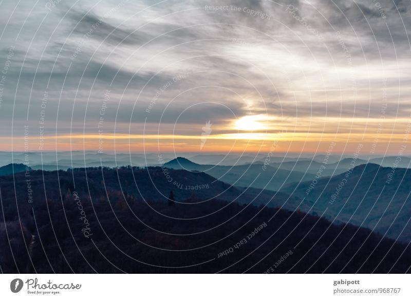 Südpfalz | Hügelland Himmel Natur Ferien & Urlaub & Reisen blau Erholung Einsamkeit Landschaft ruhig Ferne Wald Berge u. Gebirge Herbst Freiheit Tourismus