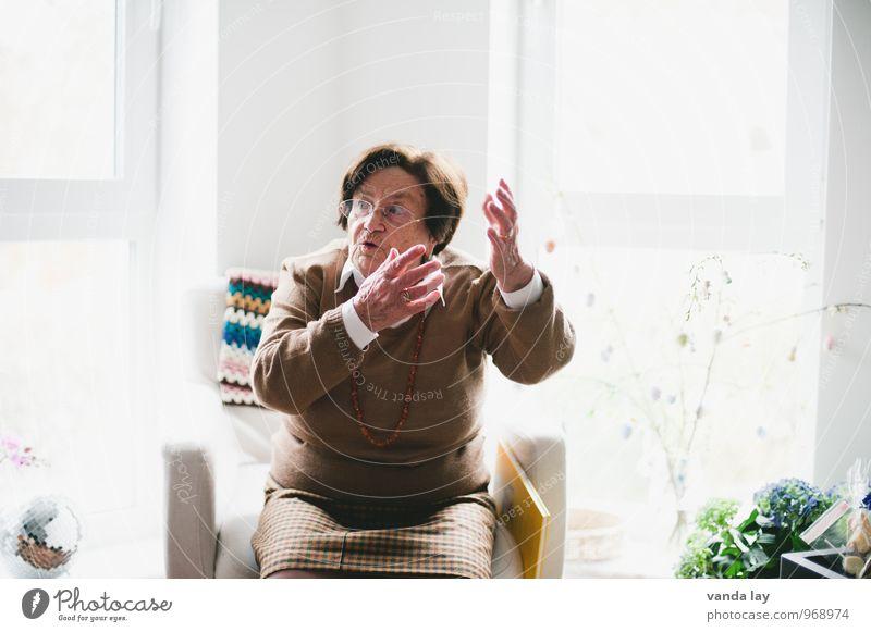 Monolog, der Häusliches Leben Mensch feminin Weiblicher Senior Frau Großeltern Großmutter 1 60 und älter Kommunizieren sprechen Konflikt & Streit Ärger