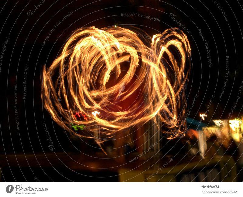 feuerspiel Licht Nacht Spielen Lichtspiel Kreis Langzeitbelichtung Geschwindigkeit Brand