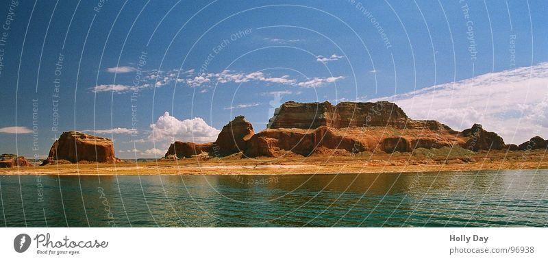 Schiffsausflug See Wasserfahrzeug Wolken Schönes Wetter schlechtes Wetter Lake Powell Utah Sommer USA Ausflug Himmel blau Felsen Erhebung Berge u. Gebirge