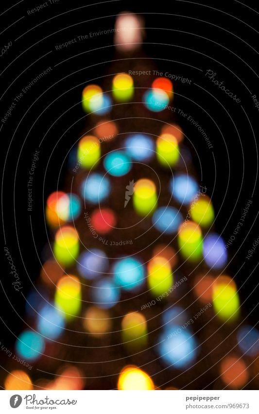Weihnachtsbaum Feste & Feiern Weihnachten & Advent Winter Baum Discokugel Zeichen Ornament Kugel leuchten mehrfarbig Außenaufnahme Experiment Menschenleer Nacht