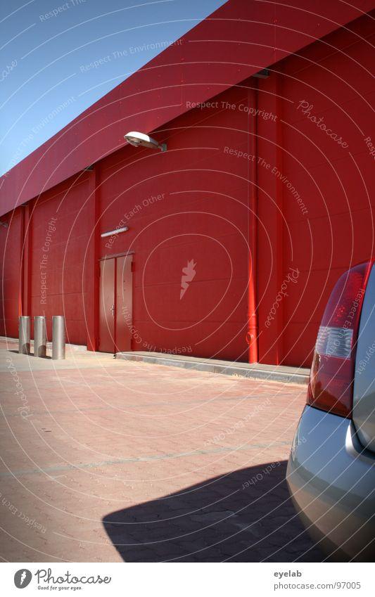 Je roter desto schnell Himmel Sonne Pflanze rot Haus Farbe Lampe Wand Gebäude Tür Beton Verkehr 3 geschlossen leer Industrie