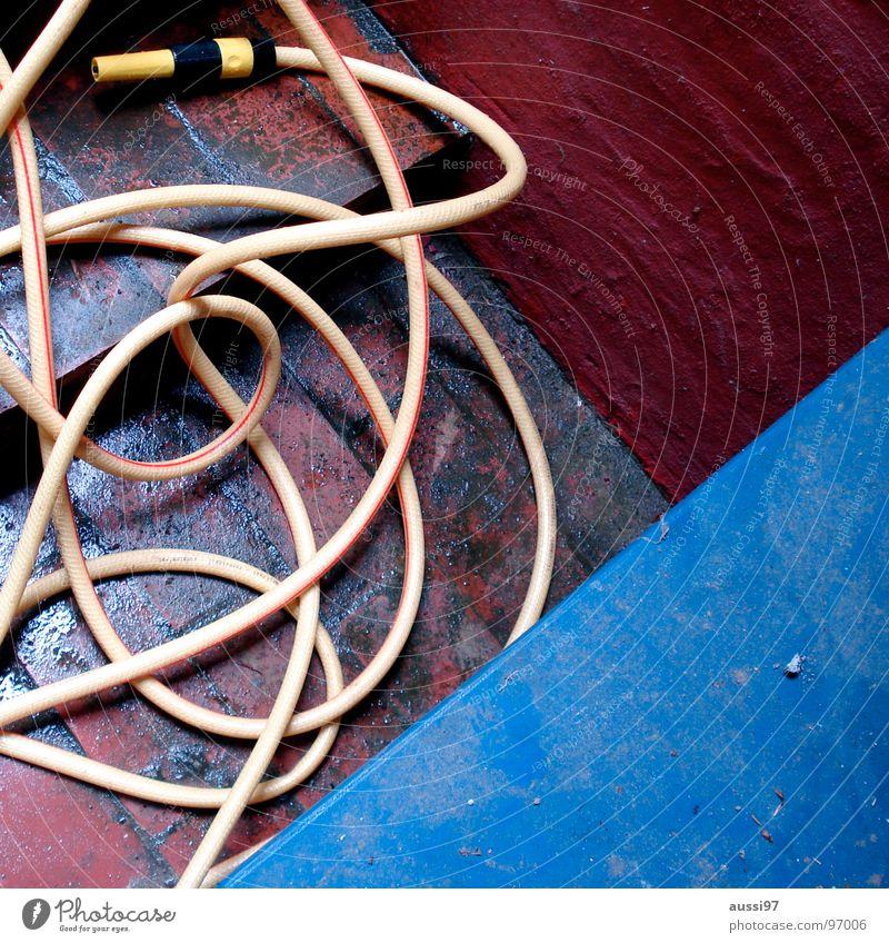 Sprenger Gartenschlauch Schlauch durcheinander Spritze Gartenarbeit Arbeit & Erwerbstätigkeit gießen Sommer Handwerk Treppe verwrungen drehen Wasser Rasen