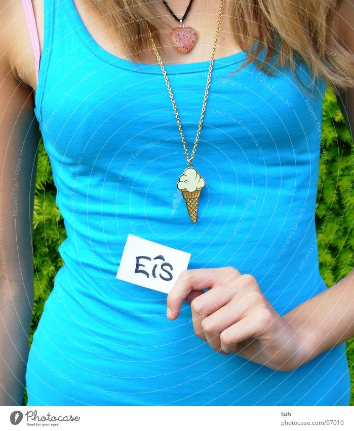 EIS ! Frau Jugendliche blau Haare & Frisuren gold lesen T-Shirt Information zeigen Top Kette Zettel Schnellzug