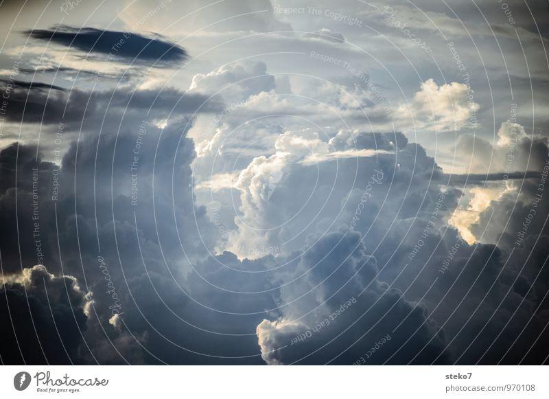 Pastell-Berge nur Himmel Gewitterwolken bedrohlich gigantisch weich blau grau weiß Bewegung Energie Horizont Kraft rein Wetter Kumulunimbus Gedeckte Farben