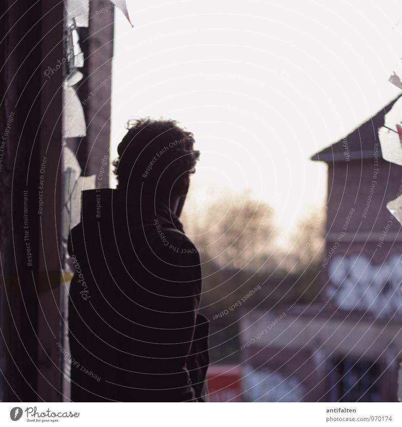Mr. Mensch Mann Haus Fenster Erwachsene Gebäude Haare & Frisuren braun Kopf maskulin Glas Rücken Aussicht bedrohlich Zukunft Vergänglichkeit
