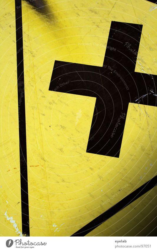 Kreuzverweis schwarz gelb Blech Dreieck gefährlich Kratzer Sicherheit Warnhinweis Warnschild Rücken kreuzverweis tigerente Schilder & Markierungen