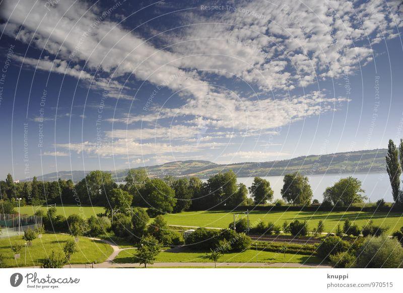 Sommer Umwelt Natur Landschaft Pflanze Luft Wasser Himmel Wolken Horizont Sonne Sonnenlicht Frühling Klima Wetter Schönes Wetter Wärme Hügel Seeufer