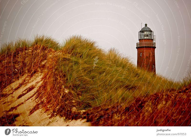 Leuchtturm Himmel Meer Strand Ferien & Urlaub & Reisen Farbe Erholung Gras See Sand Landschaft Luft Küste Turm Stranddüne Ostsee