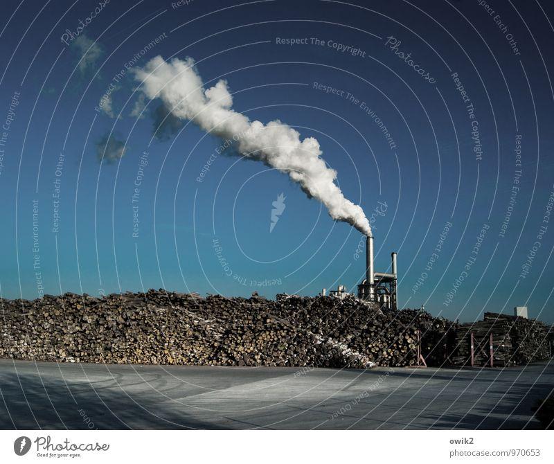 Verbrennungsmotor Technik & Technologie Industrie Holzverarbeitung Wolkenloser Himmel Schönes Wetter Bauwerk Gebäude Industrieanlage Fabrik Arbeitsplatz