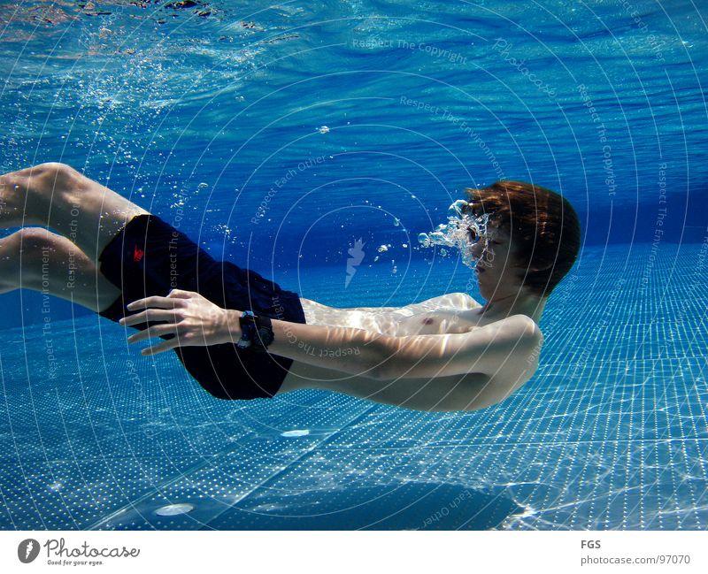 Blubb Blubb IV Mensch Jugendliche Wasser blau Freude ruhig Sport Spielen Schwimmbad Boden Bodenbelag blasen genießen atmen Wassersport