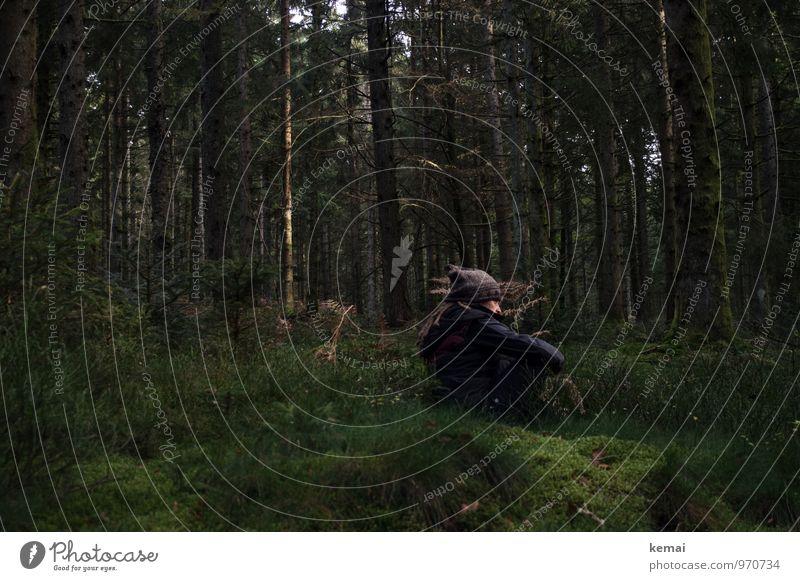 Waldmai | Eins mit dem Wald Mensch 1 Natur Pflanze Sonnenlicht Herbst Baum Moos Baumstamm Mütze Wollmütze Denken sitzen warten dunkel Gelassenheit ruhig