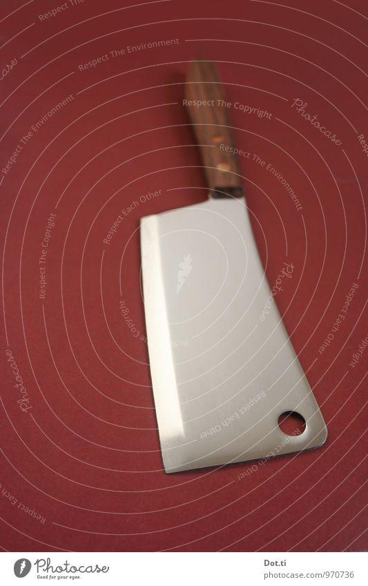 chop Messer Holz Metall glänzend braun silber Hackmesser Beil Fleischmesser Haushalt Haushaltsgerät Schneide Griff Edelstahl Dinge Schlachtermesser Farbfoto