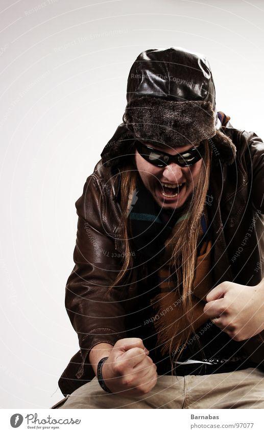 Kamikaze Boy Kamikazeflieger Pilot Leder Faust Sonnenbrille Baseballmütze Schal Flugzeug Bruchlandung Mann Long Hair Fist Hut Kappe