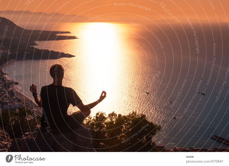 Der Tag geht abends schlafen ... Mensch Ferien & Urlaub & Reisen Jugendliche Mann Erholung Meer ruhig Junger Mann Erwachsene Lifestyle maskulin Zufriedenheit