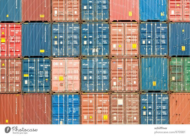 Belgisches Tetris blau rot braun Ordnung Güterverkehr & Logistik Schifffahrt Quadrat Handel Wirtschaft gerade Container Rechteck Ware Ordnungsliebe