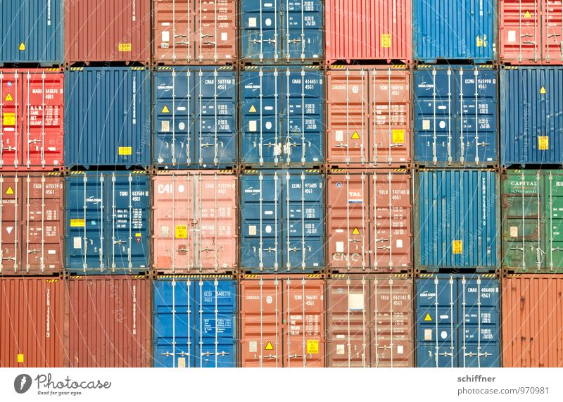 Belgisches Tetris Schifffahrt Containerschiff blau braun rot akkurat gerade Ordnung Ordnungsliebe Quadrat Rechteck Containerterminal Containerverladung