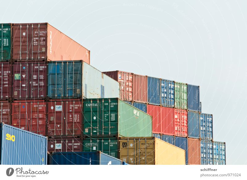 Stockwerk | Belgischer Plattenbau Schifffahrt Hafen Container blau braun Containerterminal Containerverladung Güterverkehr & Logistik Wirtschaftskrise