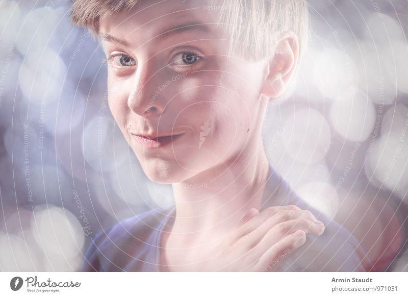 Verschmitzt Lifestyle Stil Design Mensch maskulin Jugendliche Kopf Hand 13-18 Jahre Kind Lächeln leuchten Freundlichkeit Fröhlichkeit schön listig lustig