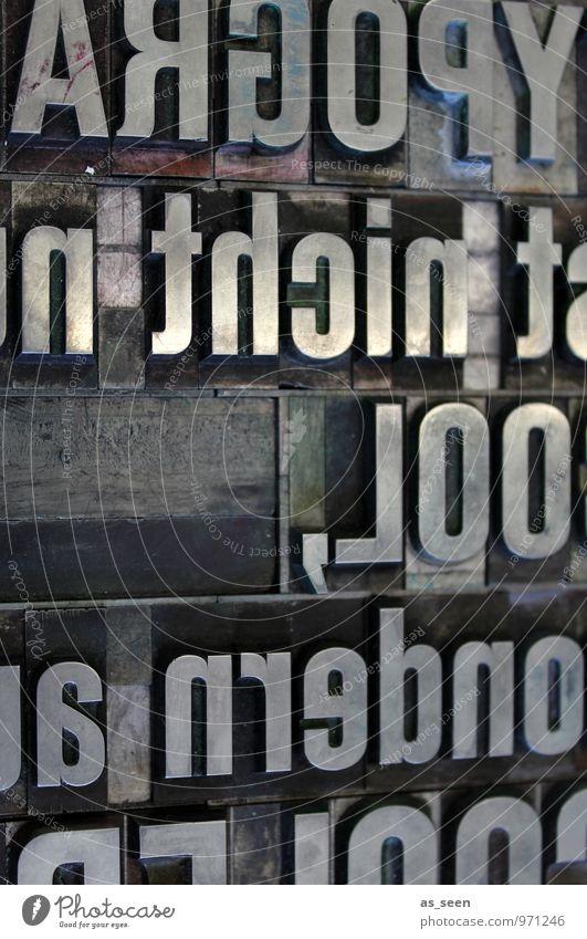 Typografie alt grau Design groß ästhetisch Schriftzeichen Buch Kreativität retro lesen Buchstaben Medien Werkstatt Handwerk Typographie Printmedien