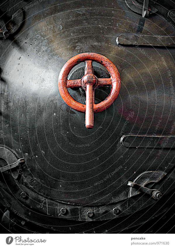 kreuzzug Dampflokomotive außergewöhnlich dunkel historisch rot schwarz Christliches Kreuz Kreuzfahrt Kreuzzug Eisenbahn Farbfoto Gedeckte Farben Nahaufnahme