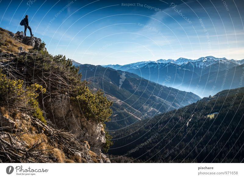 Mal wieder abschalten 1 Mensch Umwelt Natur Landschaft Herbst Schönes Wetter Berge u. Gebirge Gipfel Schneebedeckte Gipfel außergewöhnlich frei Unendlichkeit