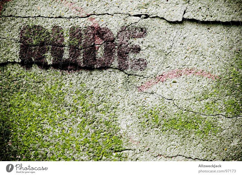 RUDE Baby! roh anstößig unfreundlich ungehorsam Beton Wand Putz Buchstaben gerissen geplatzt springen dreckig Graffiti Wandmalereien verfallen Schriftzeichen