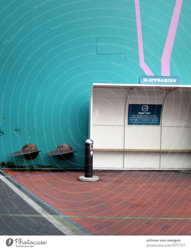 Ruhezone Ferien & Urlaub & Reisen Stadt grün Haus Ferne Wand Architektur Stil Gebäude Mauer Kunst außergewöhnlich rosa Design sitzen warten