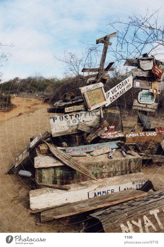 Postoffice Bay Meer Insel Postkarte Briefkasten Südamerika