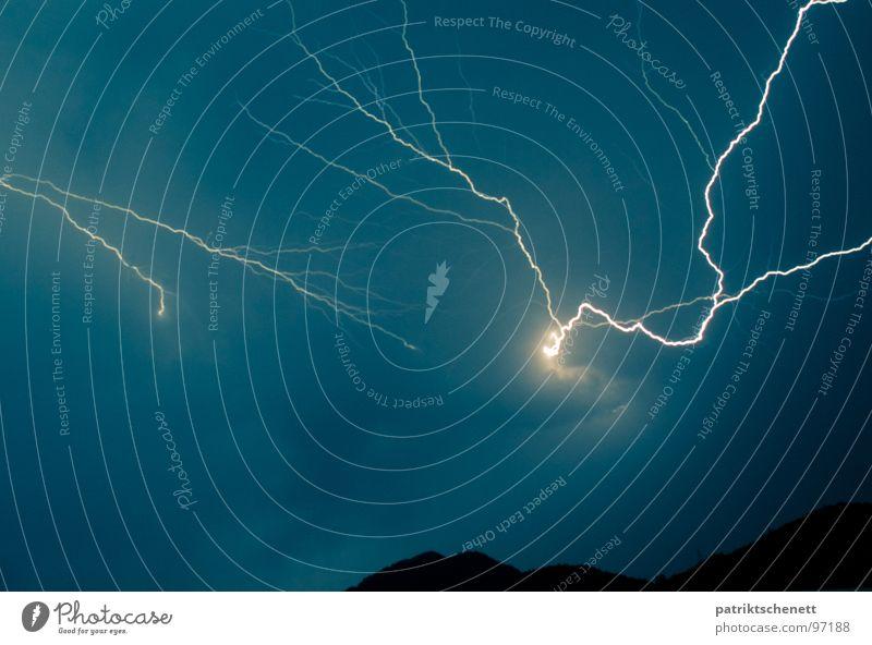 Macht des Himmels Himmel Wolken Kraft Angst Energiewirtschaft Elektrizität gefährlich bedrohlich Blitze Schmerz Gewitter Unwetter Panik Planet Donnern blau-grün