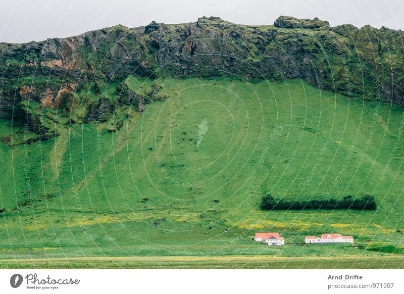 Island Ferien & Urlaub & Reisen Tourismus Abenteuer Ferne Berge u. Gebirge wandern Landschaft Urelemente Erde Wiese Feld Hügel Felsen Vulkan Haus gigantisch