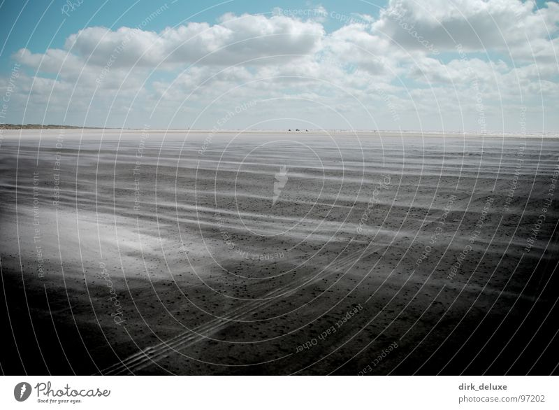 beach denmark II Himmel blau weiß Strand Wolken Sand Wind Europa beige Dänemark