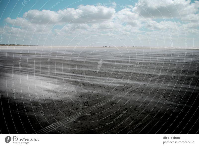 beach denmark II Strand Dänemark Himmel Wolken weiß beige Europa sky blue Sand blau Wind entsättigung