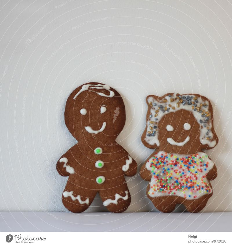 Pärchen... Mensch Frau Mann weiß Erwachsene Feste & Feiern außergewöhnlich Lebensmittel braun Paar Dekoration & Verzierung Idylle stehen ästhetisch Ernährung Kreativität