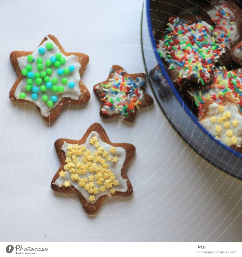 Vorrat... Lebensmittel Teigwaren Backwaren Süßwaren Plätzchen Stern (Symbol) Streusel Ernährung Weihnachten & Advent Dose Metall liegen ästhetisch Duft frisch